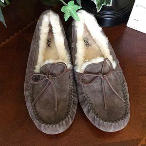 UGG Chocolate Dakota Slippers.